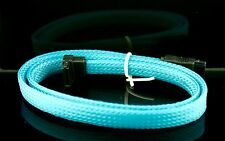"2x Premium Blue Braided Nylon 20"" Serial ATA SATA  DATA 6GBs Cable"