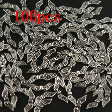 100pcs Tibetan Zinc Alloy Angel Wings Silver Charms Spacer Beads Craft Jewelry