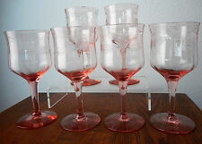 DEPRESSION GLASS PINK STEMS, SET OF 6, PATTERN UNKNOWN