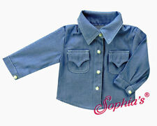 """Blue Chambray Blouse Western for 18"""" American Girl & Boy Doll Clothes"""