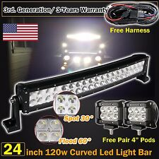 "24inch Curved Led Light bar +2X 4"" CREE Work Pods Offroad Ford Jeep SUV Truck 20"