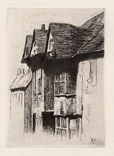 "Awesome ROBERT CAVE Original 1800s Etching ""Old Rye Village New York"" SIGNED COA"