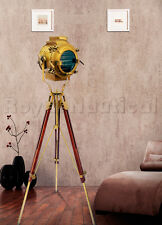 Nautical Antique Theater Spotlight Tripod Floor Lamp Wooden Lighting  Stand