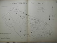 Vecchia stampa della provincia di BARI dell d Epoca fascista Regno Italia mappa