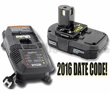 NEW Ryobi 18v Lithium Battery Pack & Charger P102 P118 Use With P236 P340 & More
