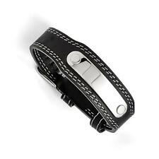 Stainless Steel & Genuine Black Leather ID Name Bracelet Free Engraving Gift