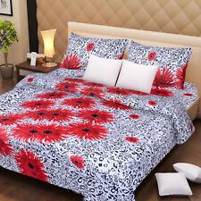 SYK Soft Cotton Double Bed sheet,Bedsheets with 2 Pillow Cover (066)- WHITE&RED