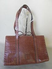 LIZ CLAIBORNE Moc Croc Brown Handbag Shoulder Bag Roomy Purse Double Straps