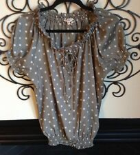 joie button front drawstring neckline beautiful taupe polka dot blouse size medi