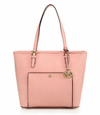 Michael Kors JET SET Large Saffiano Leather Top Zip Snap Pocket Tote - Pale Pink
