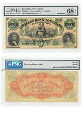 1860's $5 Note Bank Louisiana Shreveport Pmg Superb Gem Unc 68 Sku39023