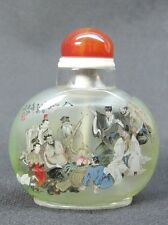Chinese Eight Immortals Inside Hand Painted Glass Snuff Bottle