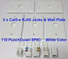 5 x Keystone Jack Cat5e White Network Ethernet 110 PunchDown RJ45 Wall Plate New