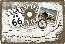 Route 66 Compass Road Map American Diner Garage Medium 3D Metal Embossed Sign