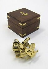 "3"" SEXTANT BRASS IN WOODEN BOX ~ NAUTICAL ~ MARITIME DECOR ~ PIRATE ~ ASTROLABE"