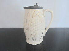 Antique Albino & Gold Gilt MAJOLICA Corn Syrup Pitcher Jug w/Pewter Lid