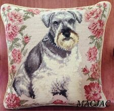 "Schnauzer Dog Needlepoint Pillow 14""x14"" NWT"