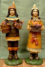 """Thanksgiving Indian Couple Figurine Fruits Vegetables, 13"""" made in resin"""