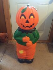 VINTAGE PUMPKIN HEAD SCARECROW 31 INCHES BLOW MOLD HOLIDAY HALLOWEEN YARD DECOR
