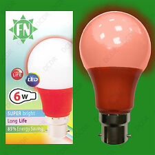 1x 6W LED Red Coloured GLS A60 Light Bulb Lamp BC B22, Low Energy 110 - 265V