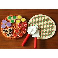 Kids Funny Wooden Pizza Play Set Italian Food Dinner Kitchen Toy Pretend Play LA