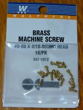 Walthers #947-1012 / 0-80 Brass Round Head Machine Screws -- 3/16 x .060""