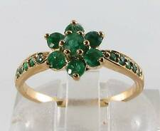 UNUSUAL 9CT 9K GOLD DAISY COLOMBIAN EMERALD RING FREE RESIZE