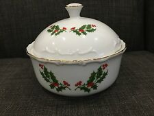 Baker Hart Stuart Christmas Holly Candy Dish With Lid Porcelain Comes With Box