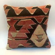"Handmade Turkish Kilim Cushion Cover, High Quality Pillow, Boho 16x16"" (40x40cm)"