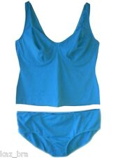 New Blue Tankini Set UK Dress Plus Size 30 & B Cup Underwired No Padding Cups