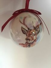 Set of 6 Christmas Tree Bauble Decorations Winter Stag Gift Boxed by Leonardo