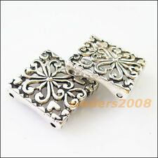 4 New Charm 2-2 Hole Square Spacer Bar Beads Connectors 17.5x18mm Tibetan Silver