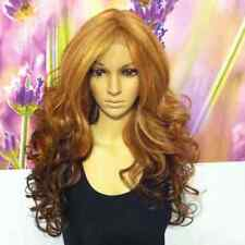 Ombre Mixed Dark blond ,red ,brown,Lace front heat resistant Synthetic wig  24''