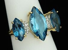 NEW / 5.8 CT Diamond & AAA Topaz Gemstones ring / 14K solid gold