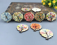 50pcs Mix Tree Shaped Wooden Sewing buttons scrapbooking crafts DIY 30mm