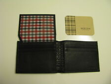 NWT BOCONI Gregory Flip ID Passcase Black leather Wallet with Navy& Red