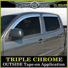2005-2015 Toyota Tacoma 4DR Double Cab 4PC Chrome Door Vent Visors Rain Guards