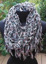 Womens Round Infinity Scarf g Lattice Woven Fringe Brown Green Fall Circle