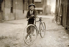 "1913 Old vintage Photo, Newsboy on Bicycle,Tobacco Pipe, 20""x14"" antique America"