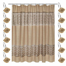 Popular Bath Spindle Gold Collection Fabric Shower Curtain & Hook Set