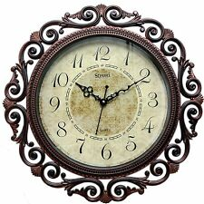 "Designer Stylish Vintage Antique Fancy Artistic Round Wall Clock 16"" Rust Brown∆"