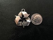5 Antique Silver Please Recycle Symbol Metal Charms / Pendants Beads Earth Day!
