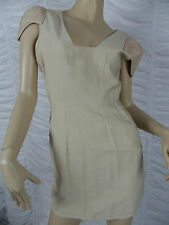 FINDERS KEEPERS beige gold linen blend cap sleeve cocktail dress size 8 BNWT