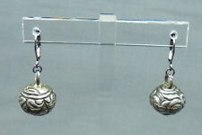 Vintage Silver Drop Dangle Earrings from Old Chinese Buttons