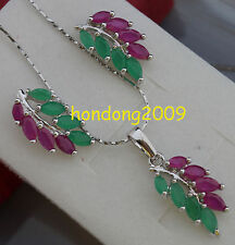 Natural Ruby &Green Emerald Necklace Earrings Jewelry White Gold Set