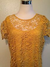 Anne Klein 2 piece Sleeveless  Crochet Dress And Camisole Layered Hem Gold 16