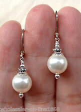 HANDMADE 925 SILVER MOTHER OF PEARL PEARL LEVERBACK CHANDELIER EARRINGS