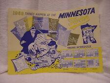 SUPER RARE Minnesota Twins 1968 Restaurant Place Mat Schedule, VERY NICE!!