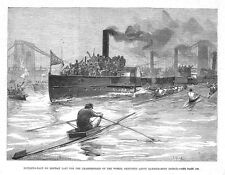 Sculling Race on the Thames for the World Championship - Antique Print 1881