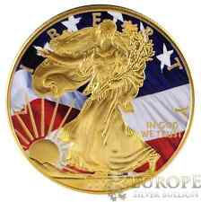 CoA 2015 American Silver Eagle Coin 1 Oz Ounce Freedom Eagle 999 24K Gold Gilded